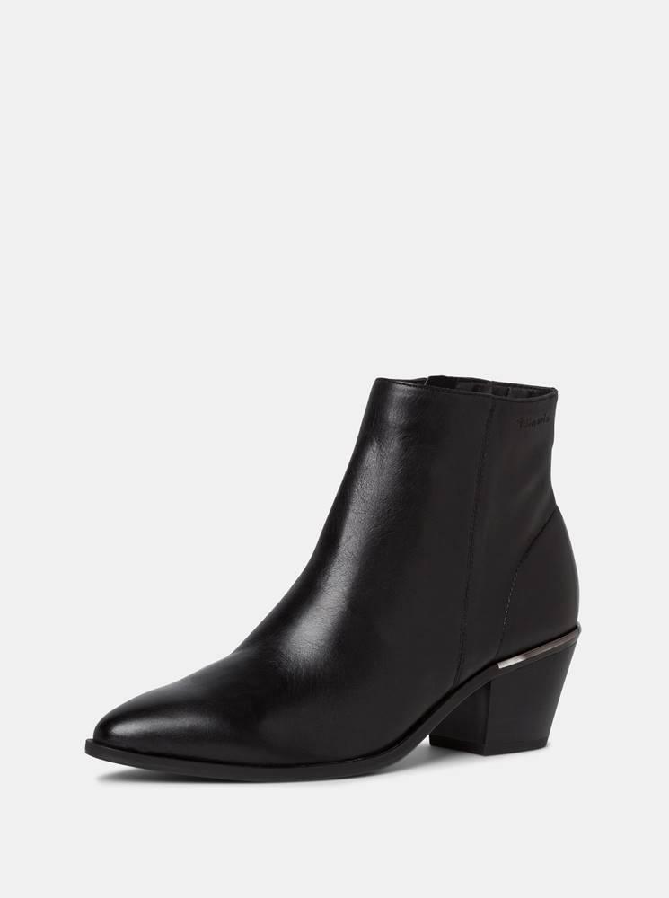 Tamaris Čierne kožené členkové topánky Tamaris