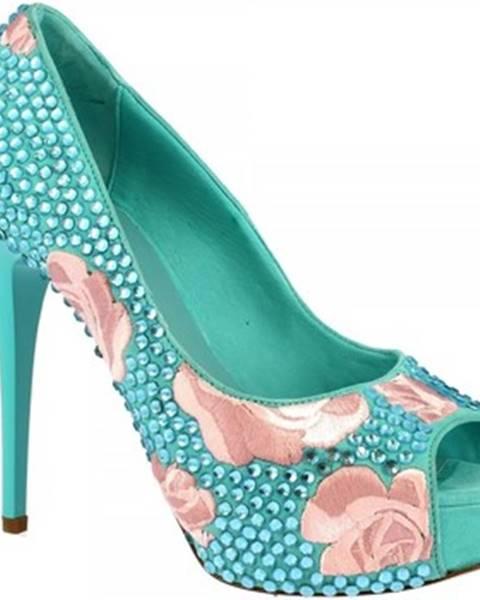 Modré lodičky Leonardo Shoes