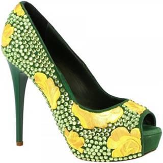 Lodičky Leonardo Shoes  G5SI93 STRASS VERDE