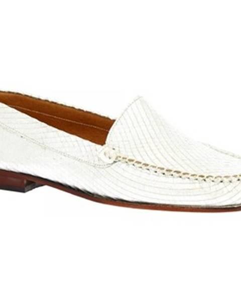 Strieborné mokasíny Leonardo Shoes