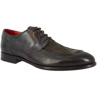 Derbie Leonardo Shoes  06602 VITELLO DELAVE BLU