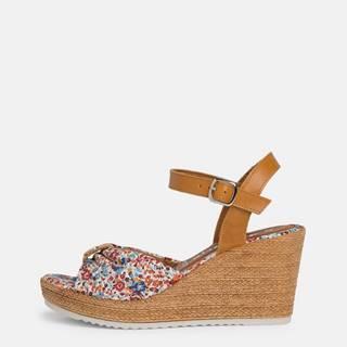 Hnedo-modré kvetované sandálky na plnom podpätku Tamaris