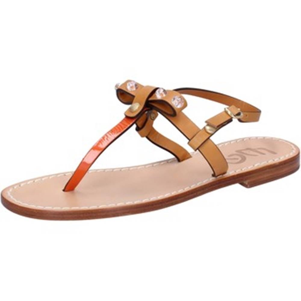 Eddy Daniele Sandále Eddy Daniele  sandali cuoio pelle arancione vernice ax723
