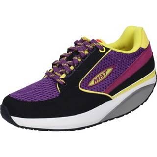 Nízke tenisky Mbt  sneakers viola tessuto pelle nero dynamic BX897