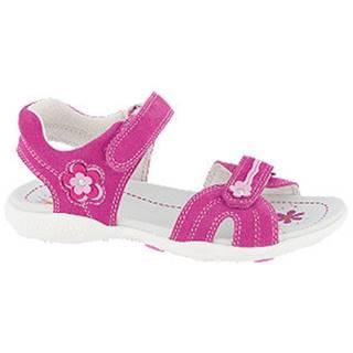 Ružové kožené sandále na suchý zips