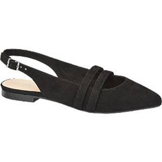 Čierne kožené slingback baleríny