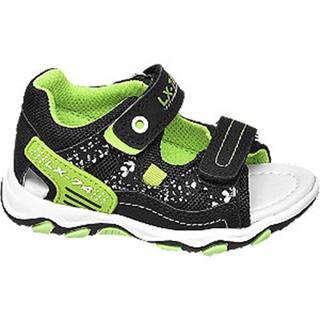 Zeleno-čierne sandále na suchý zips Bobbi Shoes