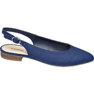 Modré slingback baleríny Graceland
