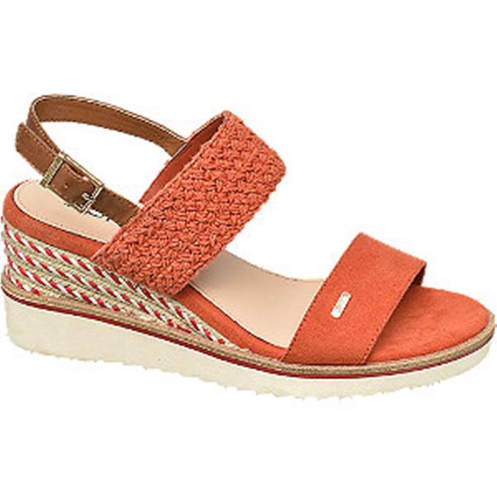 Esprit Oranžové sandále na klinovom podpätku