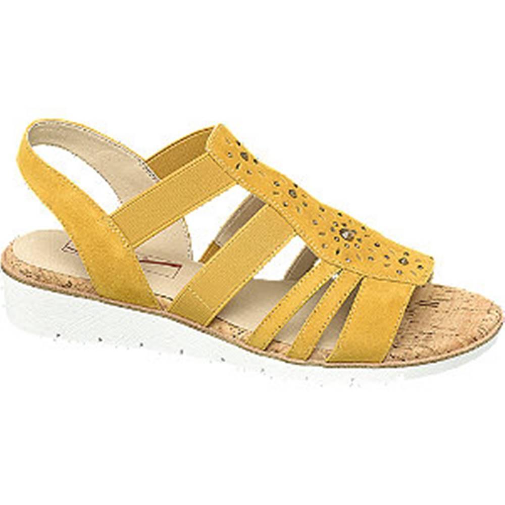 Medicus Žlté kožené komfortné sandále Medicus