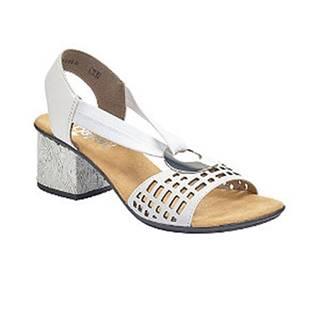 Biele kožené komfortné sandále na podpätku