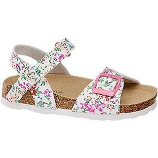 Biele sandáliky  s kvetinovým vzorom