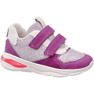 Fialovo-ružové kožené tenisky na suchý zips