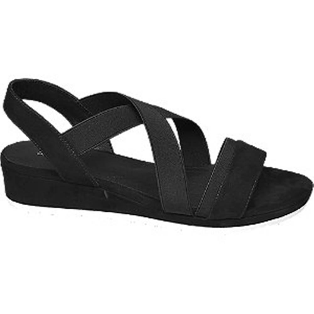 Graceland Čierne sandále na klinovom podpätku