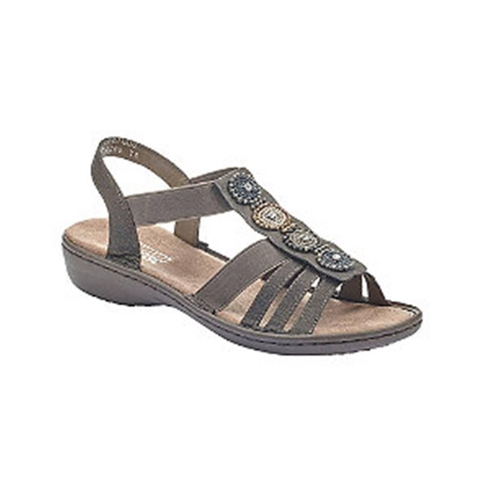 Rieker Tmavosivé komfortné sandále Rieker