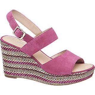 Ružové kožené sandále na klinovom podpätku 5th Avenue
