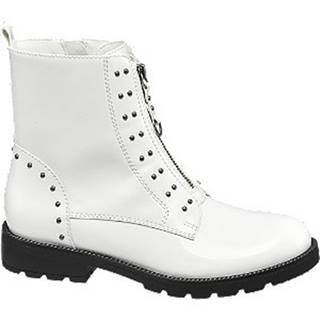 Biele členkové čižmy so zipsom Catwalk