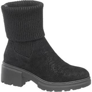 Čierne ponožkové členkové čižmy