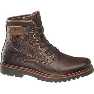 Hnedá kožená komfortná členková obuv Gallus s TEX membránou