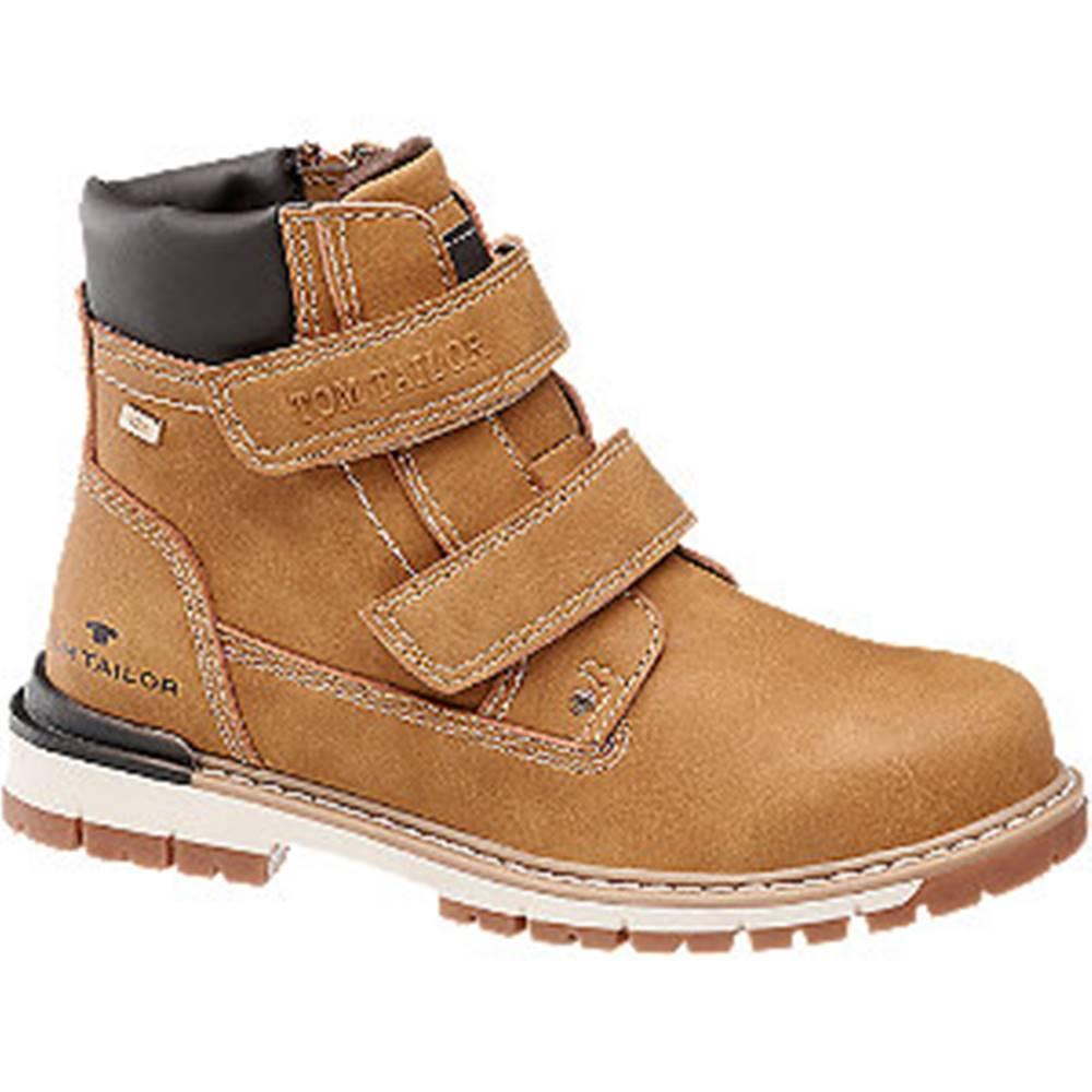 Tom Tailor Hnedá členková obuv na suchý zips s TEX membránou Tom Tailor