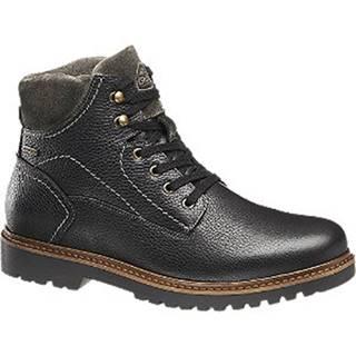 Čierna kožená komfortná členková obuv  s TEX membránou