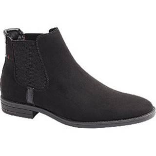 Čierna kožená Chelsea členková obuv