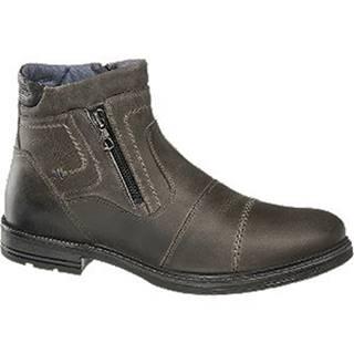Sivá kožená členková obuv so zipsom AM SHOE