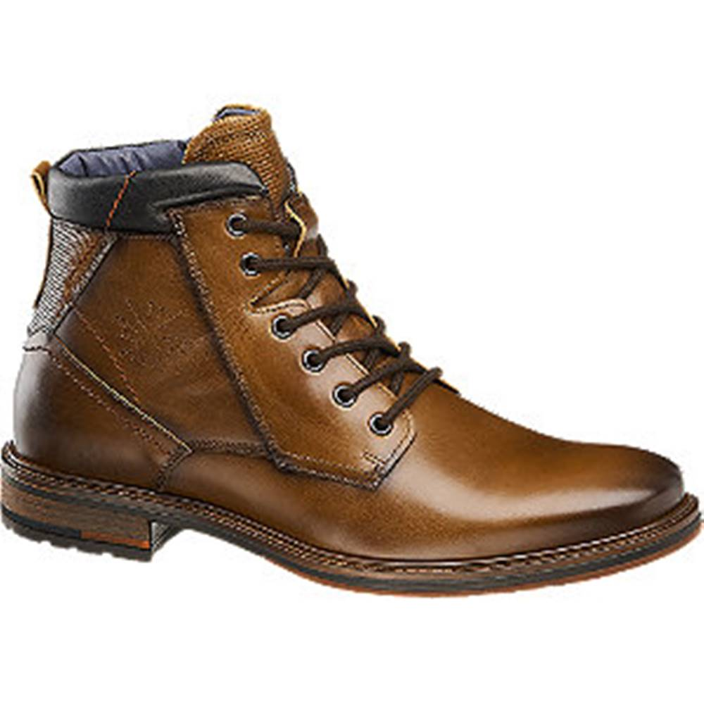 AM SHOE Hnedá kožená členková obuv so zipsom AM SHOE