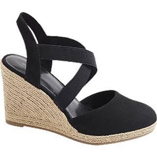 Čierne sandále na klinovom podpätku