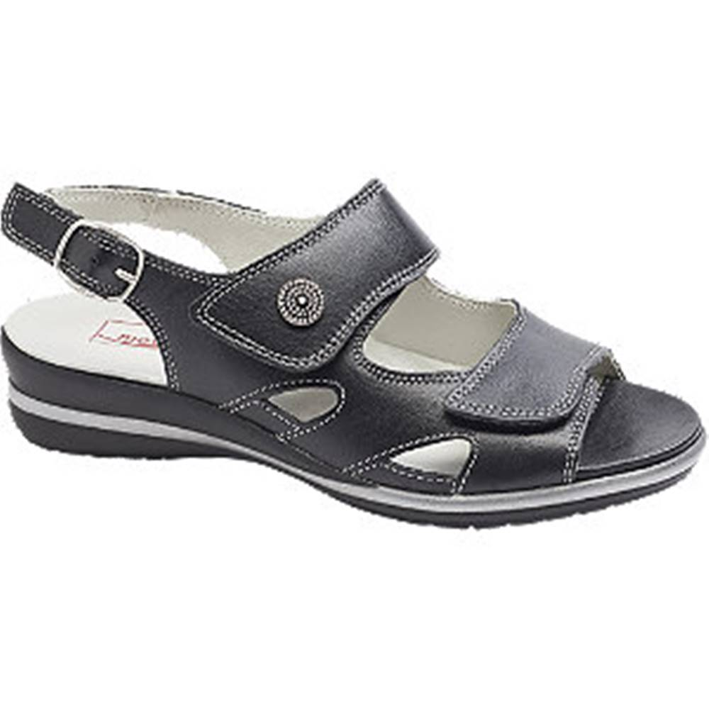 Medicus Čierne kožené komfortné sandále