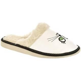 Papuče  Dámske biele papuče KITTY