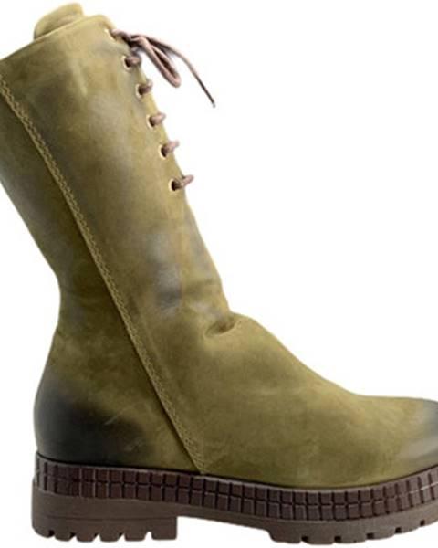 Zelené polokozačky Bueno Shoes