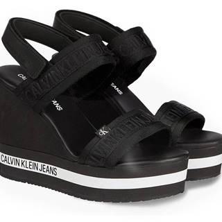 Calvin Klein čierne topánky na kline Wedge Sandal Sling