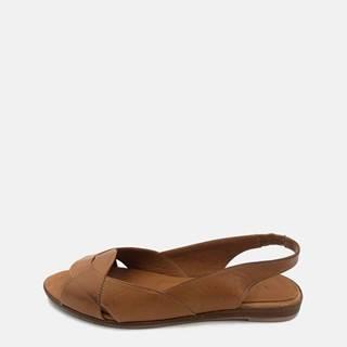 Hnedé dámske kožené sandálky WILD