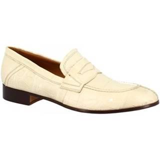 Mokasíny Leonardo Shoes  SANREMO COCCO BIANCO