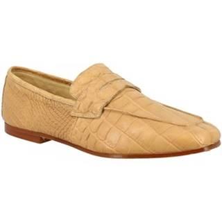 Mokasíny Leonardo Shoes  TAORMINA COCCODRILLO BEIGE