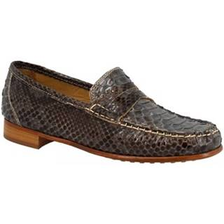 Mokasíny Leonardo Shoes  COMO PITONE GRIGIO