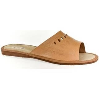 Papuče John-C  Dámske tmavo-hnedé papuče HANI