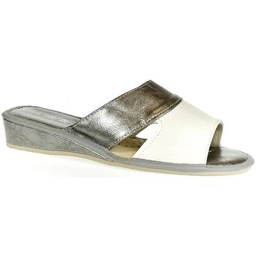 John-C Papuče John-C  Dámske strieborno-biele papuče RITA