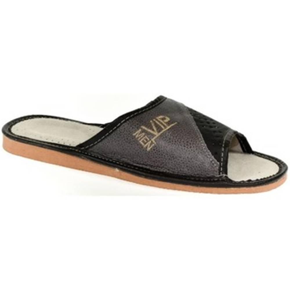 John-C Papuče John-C  Pánske sivo-čierne papuče VIPMEN