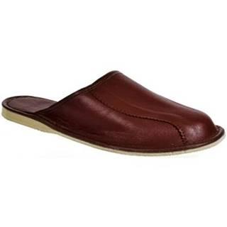Nazuvky Actonic  Pánske luxusné kožené hnedé papuče OTO