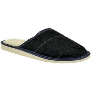 Papuče John-C  Pánske modré kožené papuče IVO