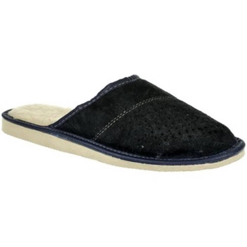 John-C Papuče John-C  Pánske modré kožené papuče IVO