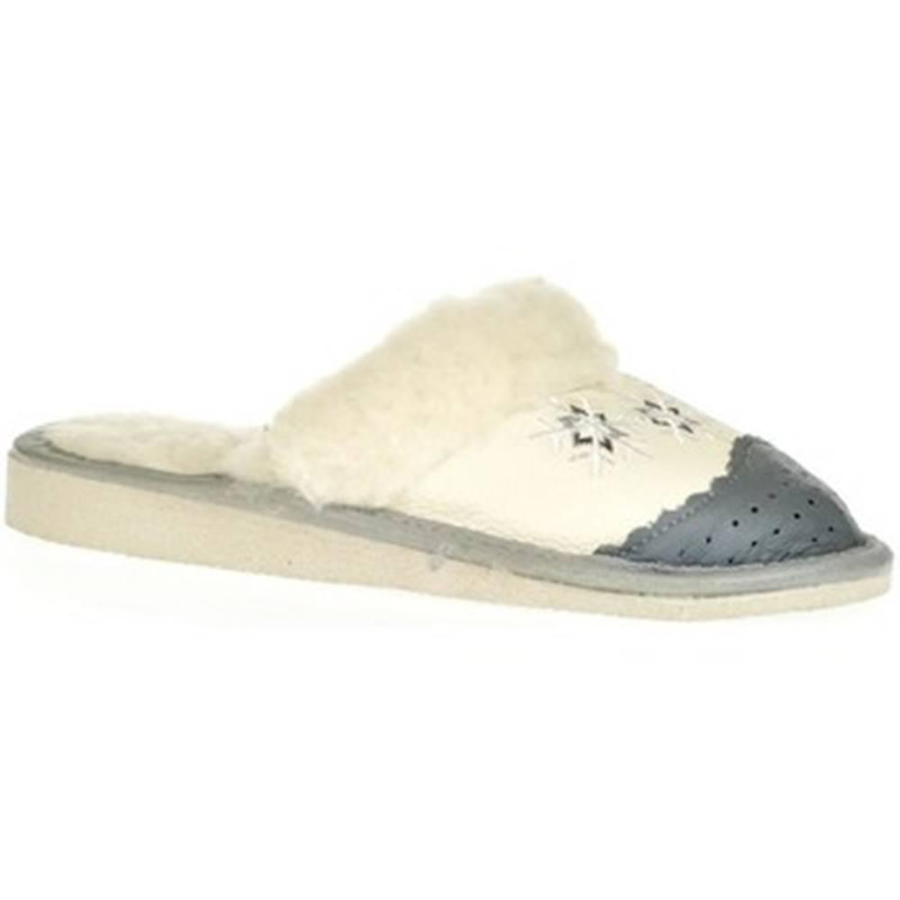 John-C Papuče John-C  Dámske biele kožené papuče BERNADETA