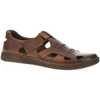 Sandále Krezus  Pánske tmavo-hnedé poltopánky SOMETI