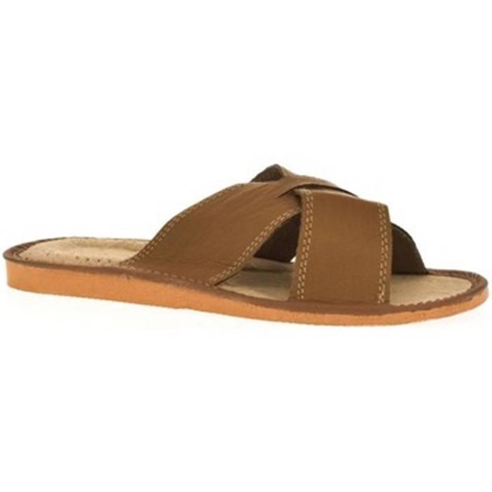 John-C Šľapky John-C  Pánske svetlo-hnedé papuče HUGO