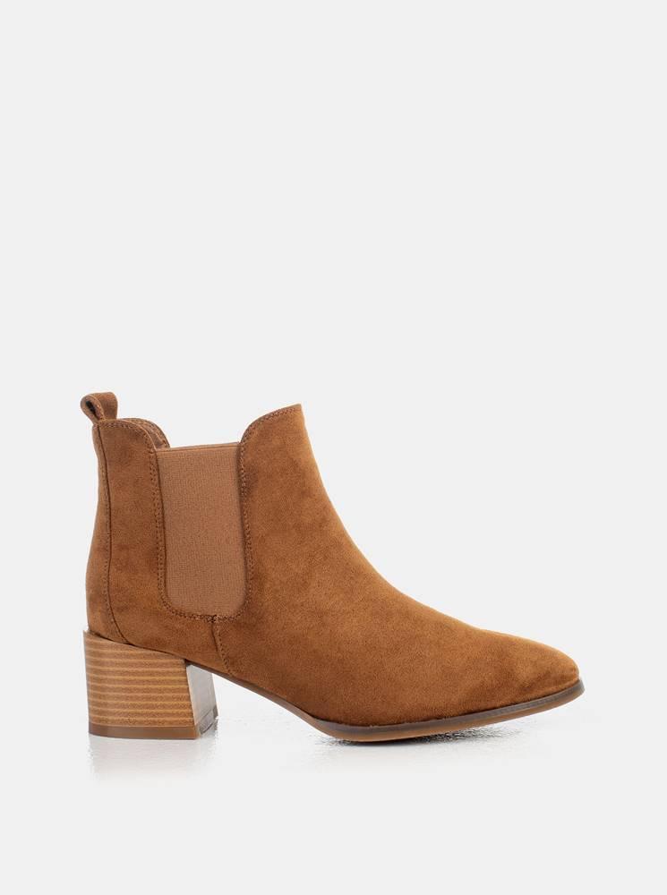 musk Hnedé dámske členkové topánky v semišovej úprave MUSK