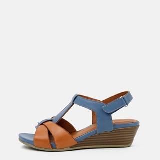Hnedo-modré kožené sandálky na plnom podpätku WILD