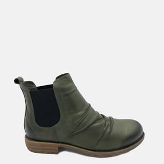 Kaki dámske kožené chelsea topánky WILD