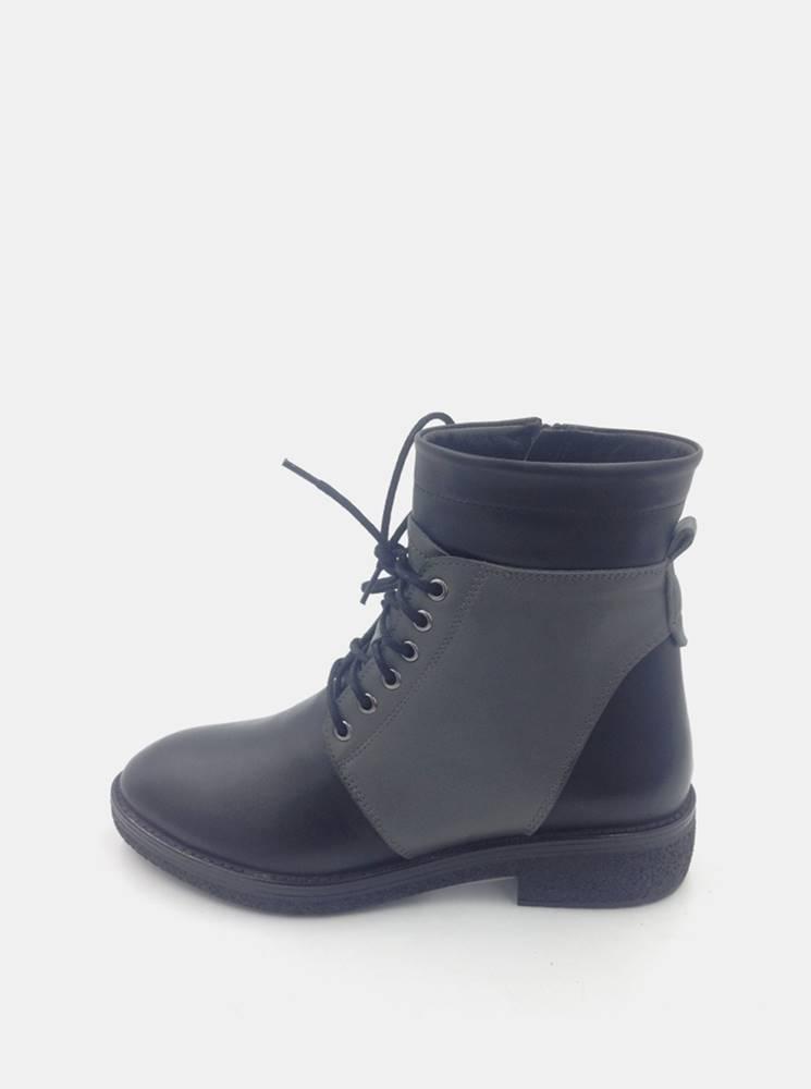 wild Šedomodré dámske kožené členkové topánky WILD